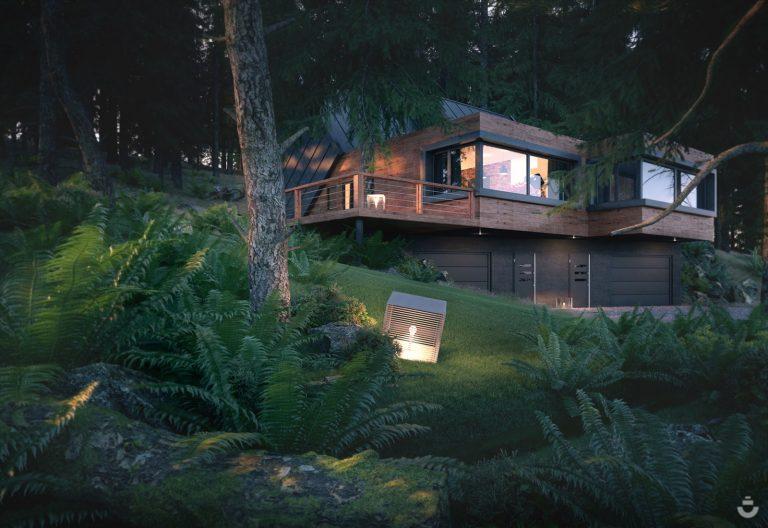 Wizualizacja domu w lesie, wizualizacja architektoniczna