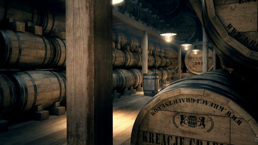Wizualizacja piwnicy z whisky, wizualizacje wnętrz, aranżacje wnętrz