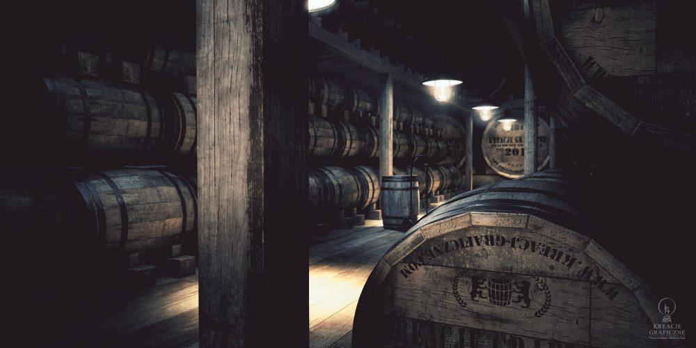 Wizualizacja piwnicy z whisky ver.3, aranżacje pomieszczeń
