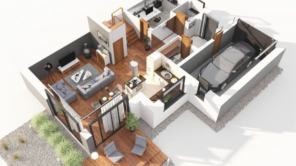 Przykładowa aranżacja pomieszczeń domu jednorodzinnego, przekroje 3d