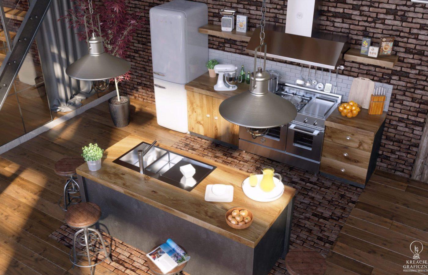 Wizualizacja kuchni ver.2, wizualizacje wnętrz